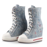 denim canvas Invisible height increasing woman mid calf boots med wedges woman boots lace up fashion rhinestone platform shoes
