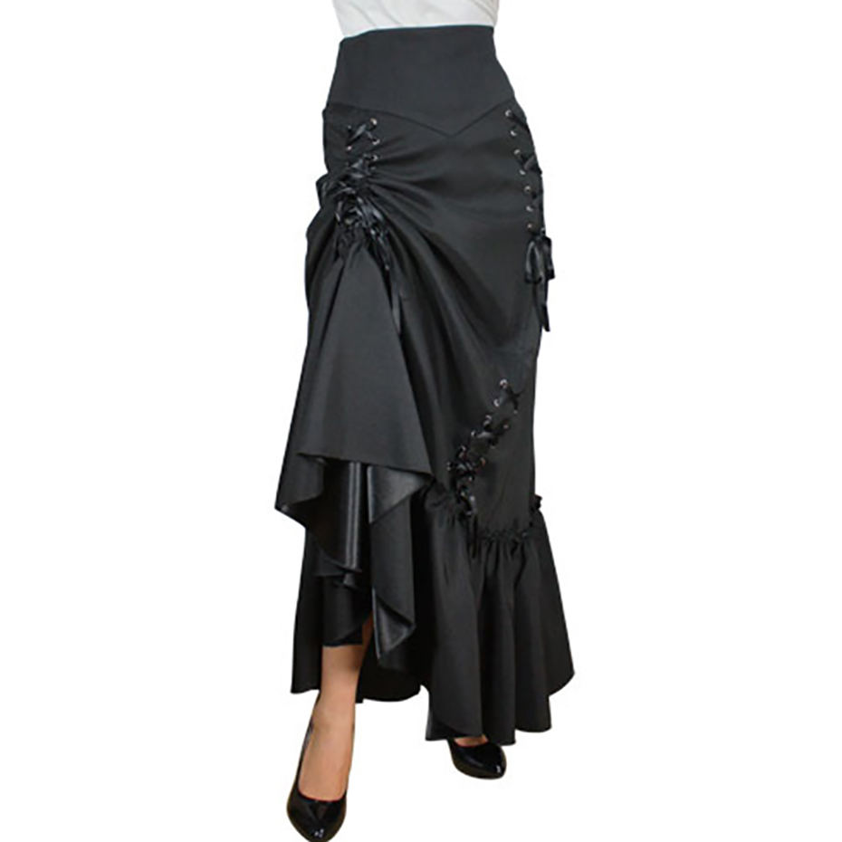 Women Gothic Vintage Skirts Mermaid Trumpet Black Long Maxi Skirt Burgundy Goth High Waist Female Satin Irregular Lace Up Skirts