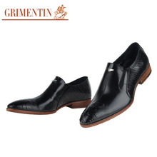 GRIMENTIN brand ltalian business men shoes high quality leather black brown