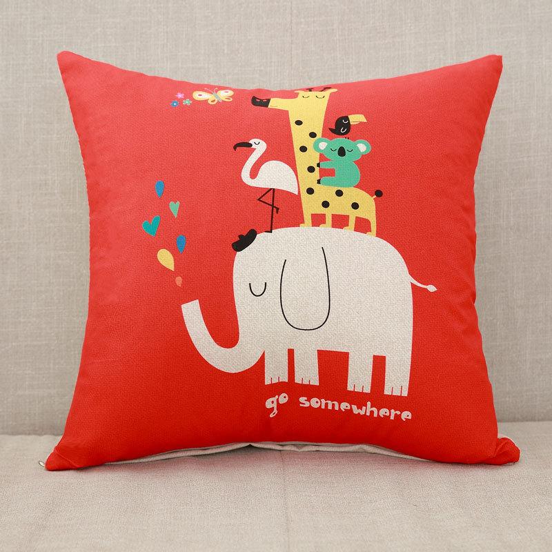 YWZN милый мультяшный чехол для подушки с котом, креативный чехол для подушки с изображением жирафа, декоративный чехол для подушки со слоном, funda cojin kussenhoes