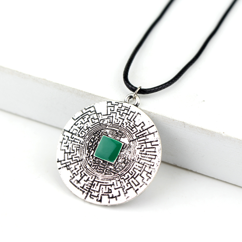 dongsheng Movies Jewelry The Maze Runner labyrinth pendant Thomas leather necklace fashion movies jewelry for men women -30