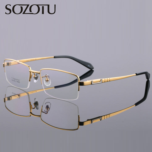 e3c0db79c68c Pure Titanium Spectacle Frame Men Prescription Eyeglasses Computer Optical  Clear Gold Eye Glasses Frame For Male Eyewear YQ279
