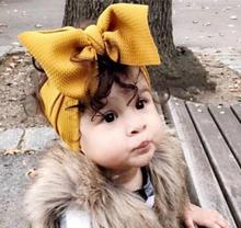Fabric Elastic Kids Top Knot Girl Hair Band/ Adjustable Big Bow Turban Headband / Wide Headwrap Hairband Accessories