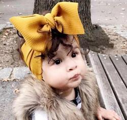 Fabric Elastic Kids Top Knot Girl Hair Band/ Adjustable Big Bow Turban Headband / Wide Headwrap Girl Hairband Hair Accessories