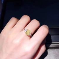 ANI 18K White Gold (AU750) Women Wedding Ring Certified H/SI 3.282 CT Big Cushion Cut Natural Yellow Diamond Luxury Fine Jewelry