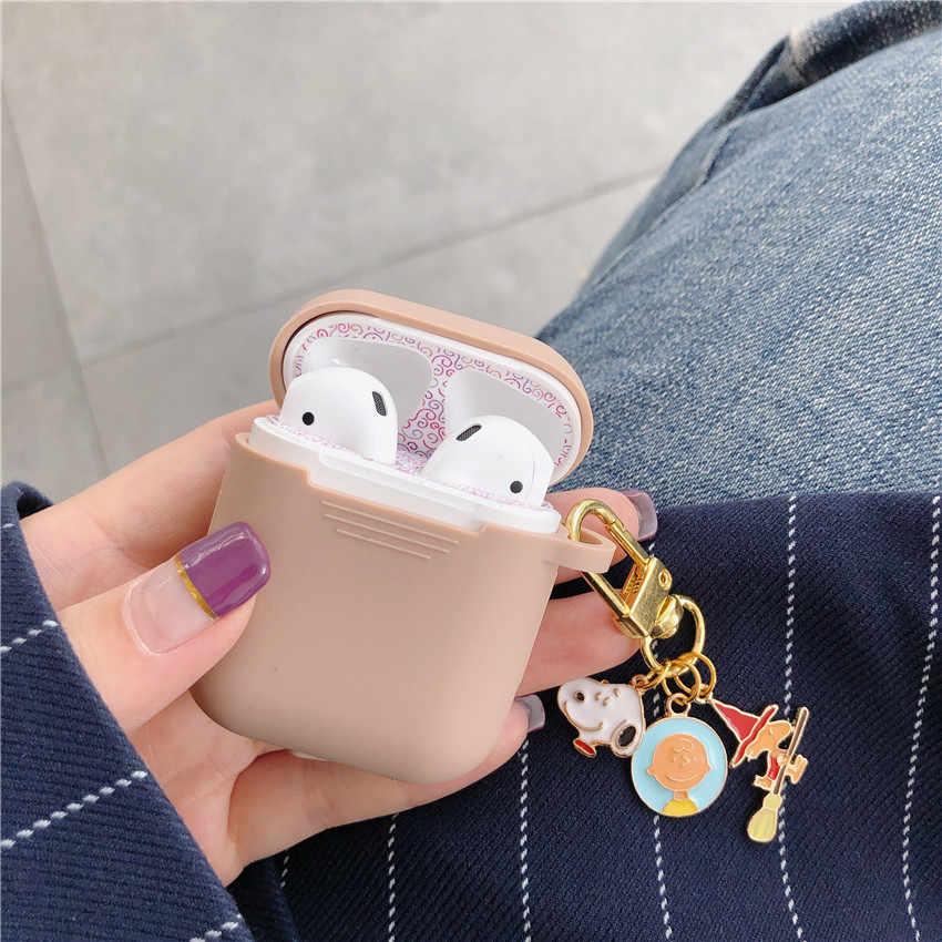 Nowa bezprzewodowa Bluetooth etui na słuchawki do Apple AirPods silikon słuchawki przypadki dla Airpods pokrowiec ochronny Cute pies breloczek