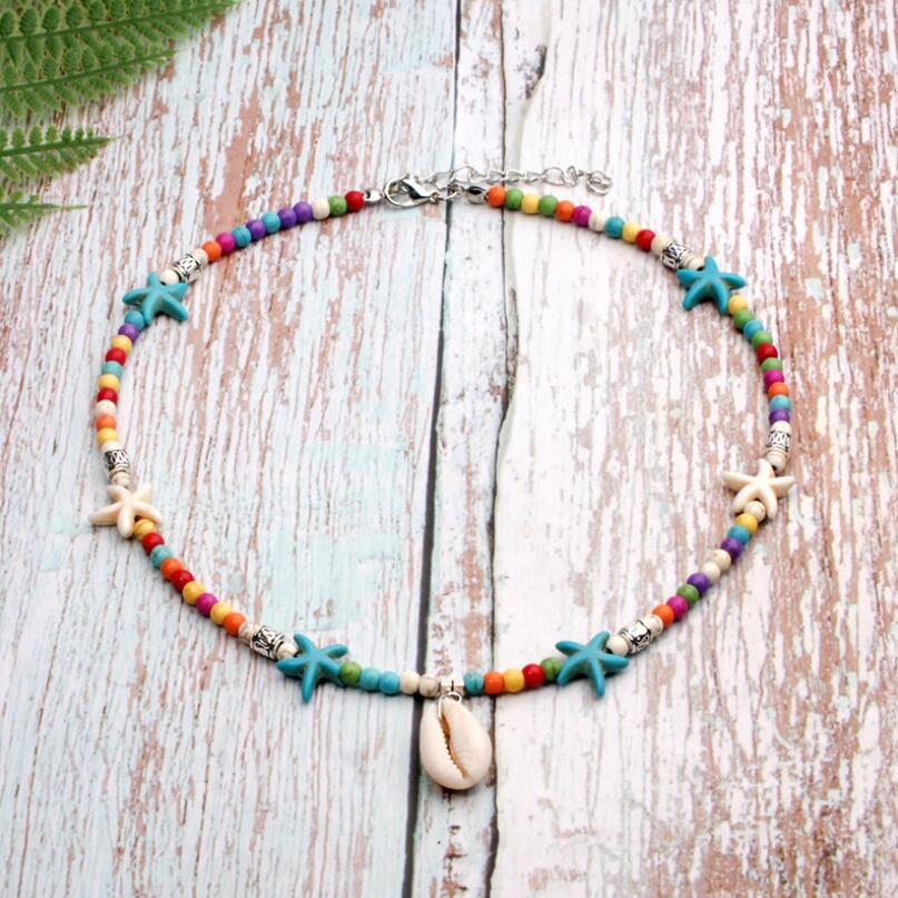 Boho Green Turquoise Seed beaded Choker Shell Conch Pendant Necklace Women Hot