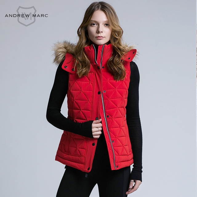 Andrew Marc 2016 Women Fashion Duck Down Vest Ultralight Slim Hooded Fashion Female Coat Big Brand women Vests TW6AH514