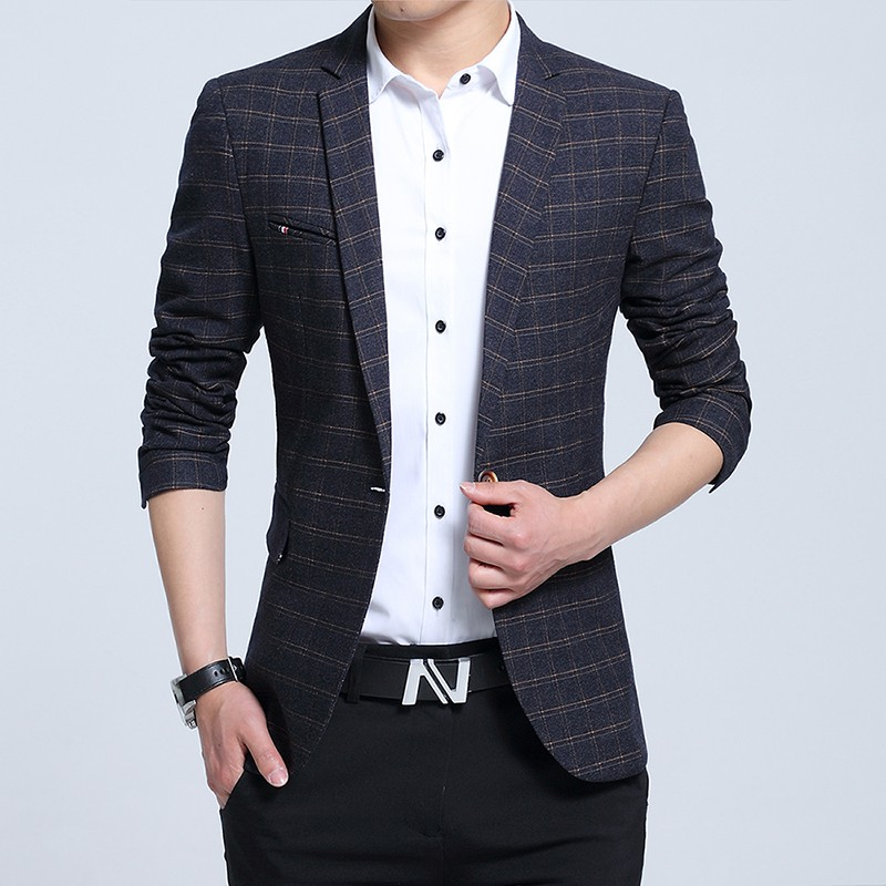High-end spring and summer new business casual suit male Korean version of the young grid small suit male British jacket tide