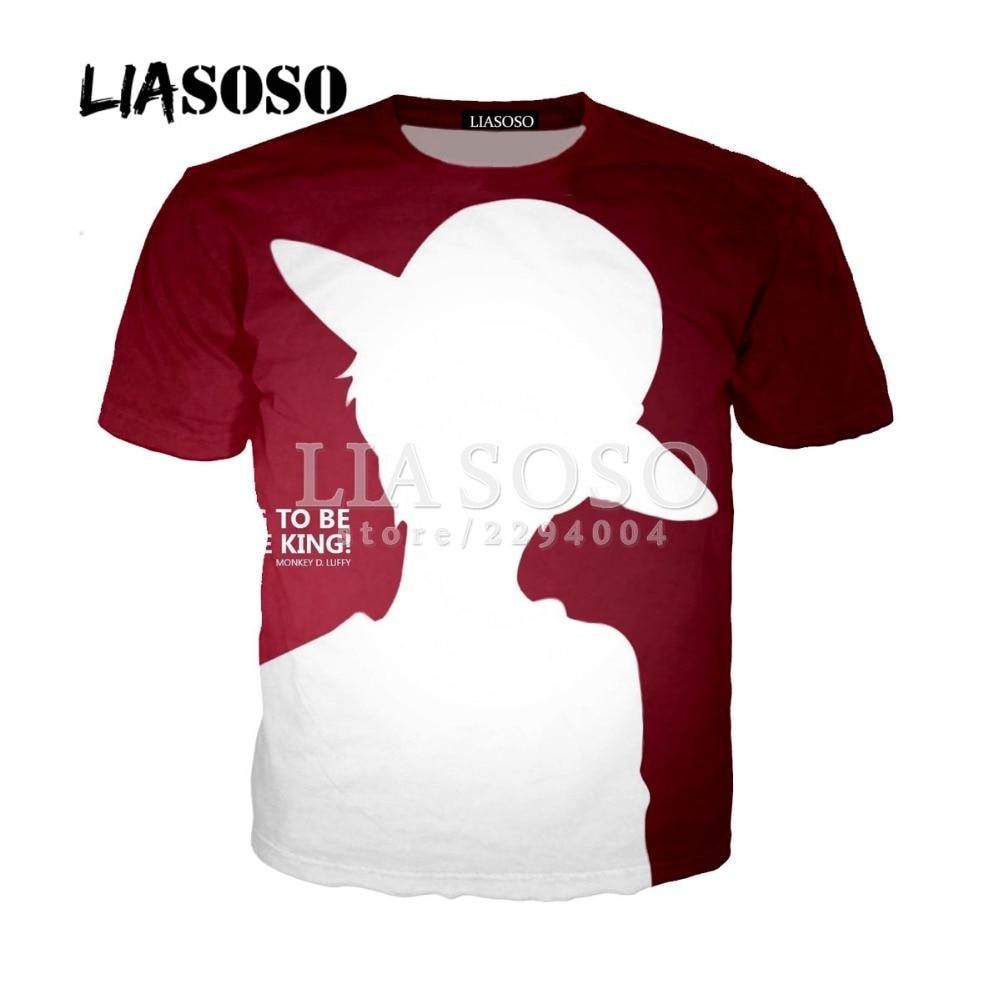 LIASOSO New Listed Men Anime 3D T Shirt Cartoon One Piece Print T-shirt Homme Clothing Harajuku Luffy Team Camisetas Hombre Y079