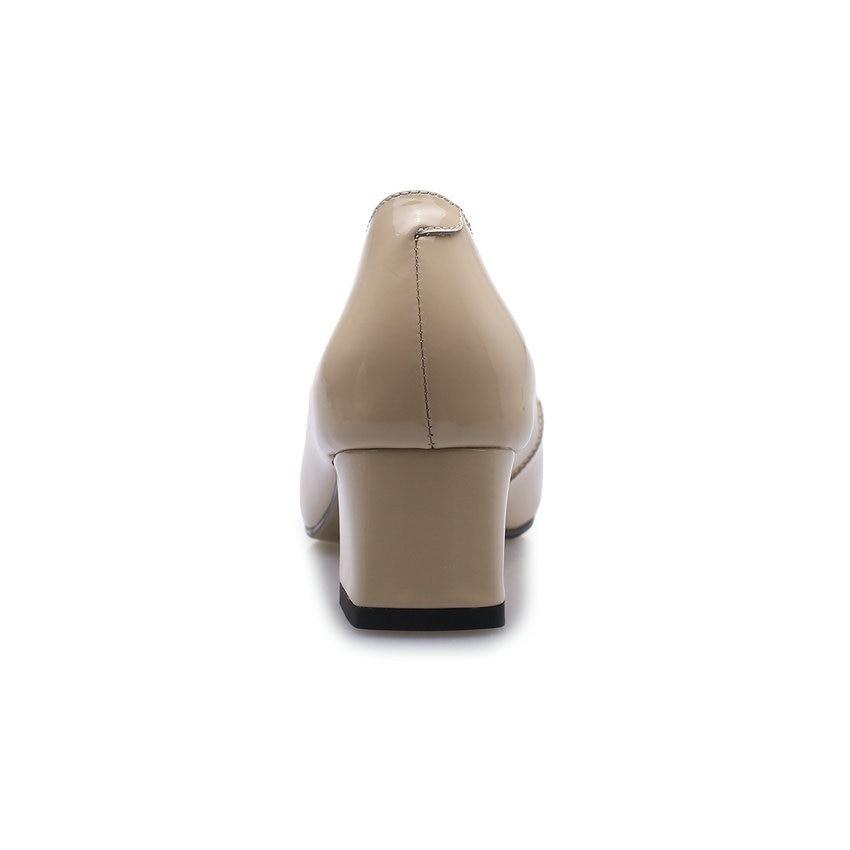 forme Élégant noir 2019 Cuir 39 Verni Bout Pointu Luose En Chaussures Mode Plate Sur Pompes Dames Casual De Slip Qutaa Femmes Taille 34 fzq6Bgg