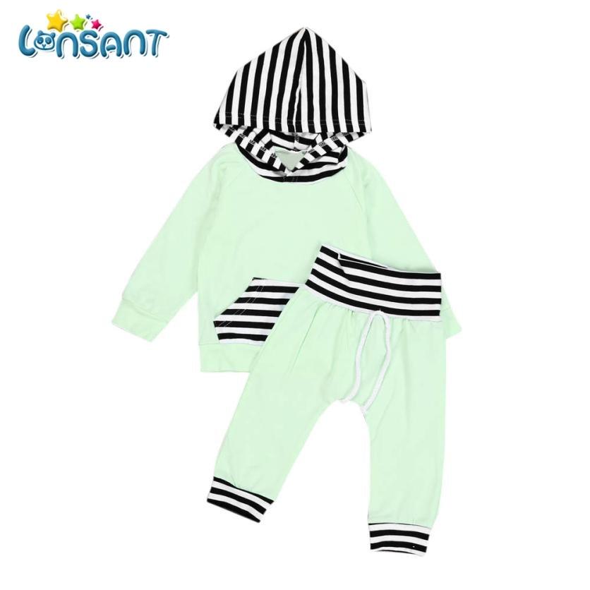 LONSANT Baby Boys Girls Clothes Set 2018 Autumn Warm Hooded Tops Sweatshirt Pants Fashion Casual Vestido Infantil Dropshipping