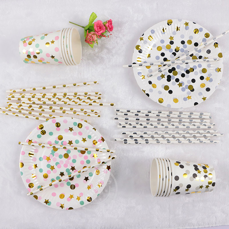 High end Disposable Tableware Colorful Gold Black Silver Polka Dot Paper Plates Cups Party Wedding Carnival Tableware Supplies-in Disposable Party Tableware ...  sc 1 st  AliExpress.com & High end Disposable Tableware Colorful Gold Black Silver Polka Dot ...