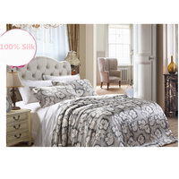 New Arrive 100 Pure Silk Bedding Set 4pc Silk Duvet Cover Flat Sheet Pillowcase Twin Full