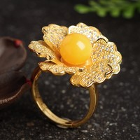 New 925 Sterling Silver 100 Natural Beeswax Beads Flower Ring Women S Ring