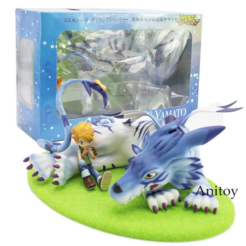 GEM Digimon Adventure Garurumon & Yamato PVC Figure Collectible Model Toy