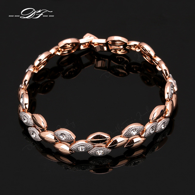 Double Fair DFH014 Unique Style Frosting Elliptic Charms Rose Gold Plated Bracelets & Bangles Fashion Jewelry For Women Gift