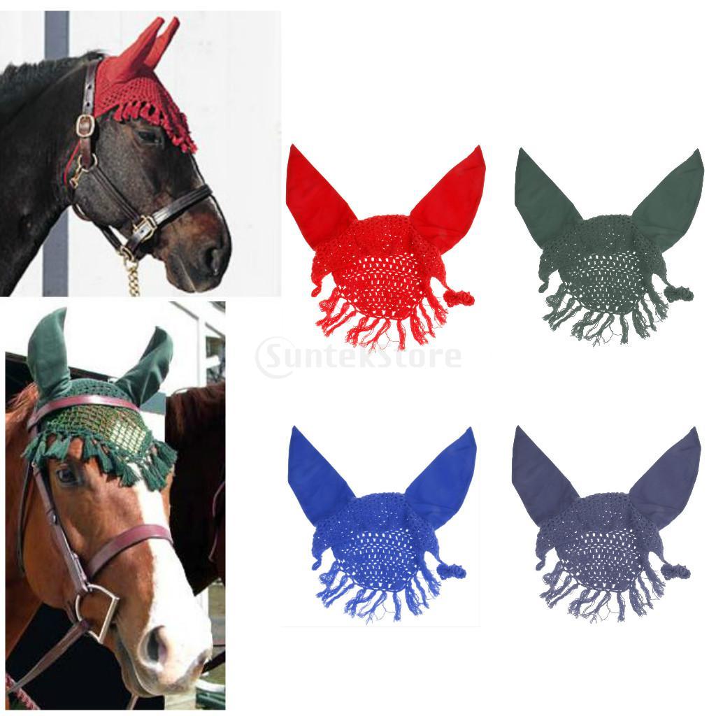 Handmade Horse Ear Bonnet/ Net/ Hood/ Mask Fly Veil Breathable Cotton Crochet Tassel Decor