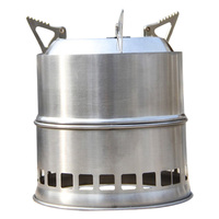 SZ LGFM Portable Stainless Steel Lightweight Wood Stove Solidified Alcohol Stove Outdoor Cooking Picnic BBQ Camping