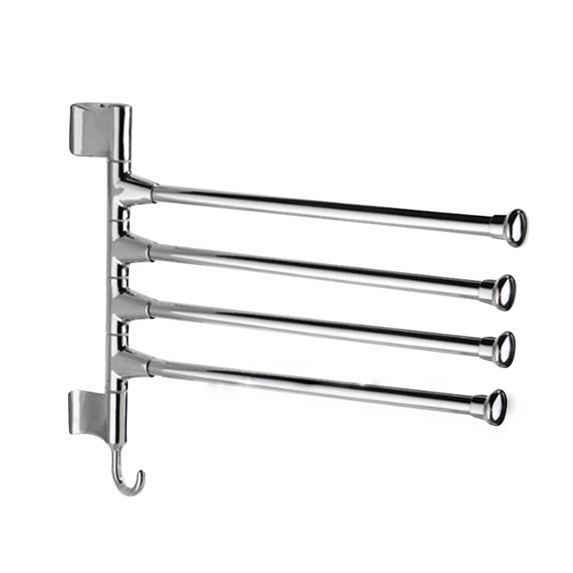 Wall Mounted Swing 4 Arm Kitchen Towel Rack Stainless Steel