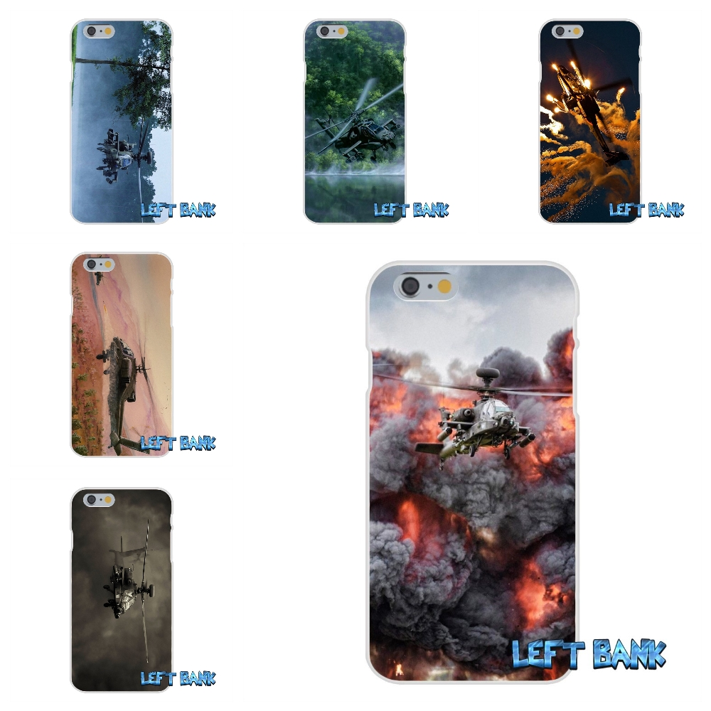 For iPhone 4 4S 5 5S 5C SE 6 6S 7 Plus Apache Helicopters at sunset Print Soft Silicone TPU Transparent Cover Case