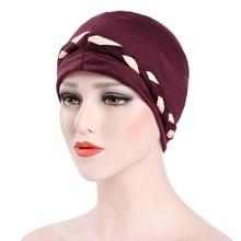 Muslim Women Stretch Braid Cotton Turban Hat Scarf Cancer Chemo Beanies Caps Hijab Headwear Head Wrap For Hair Loss