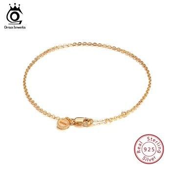 be999b393eb9 ORSA JEWELS 925 mujeres de plata esterlina pulseras de oro-color elegante  pulsera langosta garra-broche de joyería de moda para chica SB28