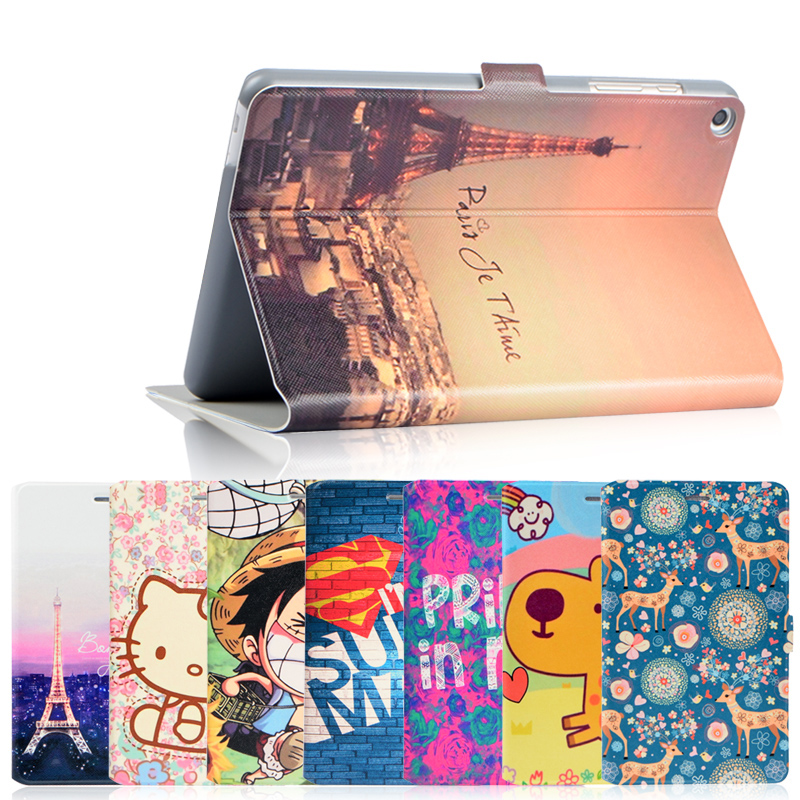 Fashion painted Pu leather stand holder Cover Case For HuaWei MediaPad T1 S8-701U/S8-701W/T1-821W/T1-823L 8.0 inch Tablet + Gift mediapad m3 lite 8 0 skin ultra slim cartoon stand pu leather case cover for huawei mediapad m3 lite 8 0 cpn w09 cpn al00 8