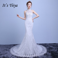 Free Shipping Lace Halter Collar Mermaid Train Wedding Dresses White Trailing Bride Gowns Custom Made Vestidos