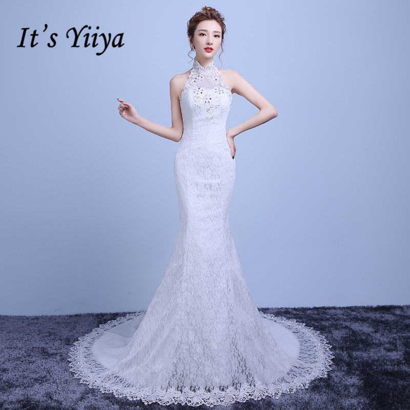 It's Yiiya Real Photo Plus Size Lace Halter Collar Mermaid Train Wedding Dresses White Trailing Bride Gown Vestidos De Novia Y32
