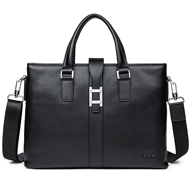 GSQ Genuine Leather Men Handbag Classic High Quality Leather Bag Business Men Bag 14inch Laptop Briefcase Messenger Bag G139-1 new high quality leather men laptop briefcase bag 14 inch computer bags handbag business bag fashion laptop handbag for men