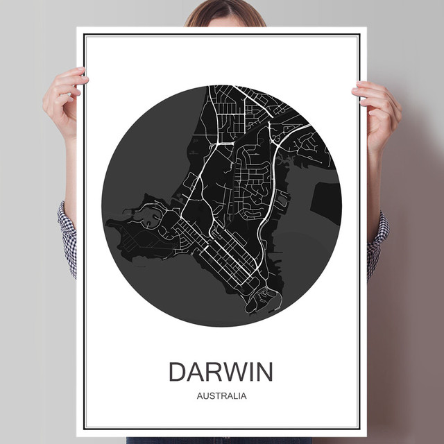 Hot sale darwin world city map canvas coated paper modern poster abstract print picture oil painting