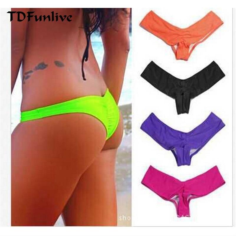 TDFunlive 2016 Yeni V Şekli Seksi Kadınlar Tanga Bikini Biquines Brasileiros Biquini Panicat Moda De Praia Brezilyalı Bikini Alt