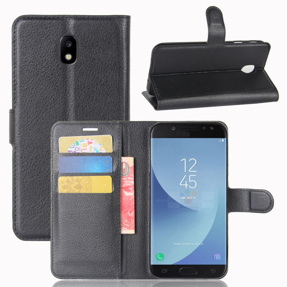 100pcslot Lichi grain wallet PU Leather stand+TPU Cover Case with card slot For Samsung Galaxy J5 J530 2017 EU Version
