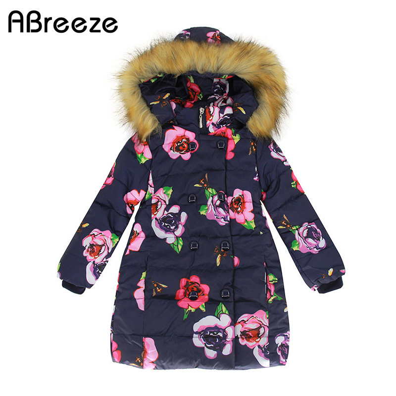 Abreeze new autumn winter girls clothing fashion flower print down & parkas for girls 2-9T cotton lining long girls hooded coats
