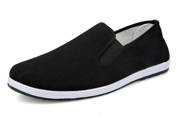 spring autumn breathable men black cotton fabric casual shoes slip-on sport shoes