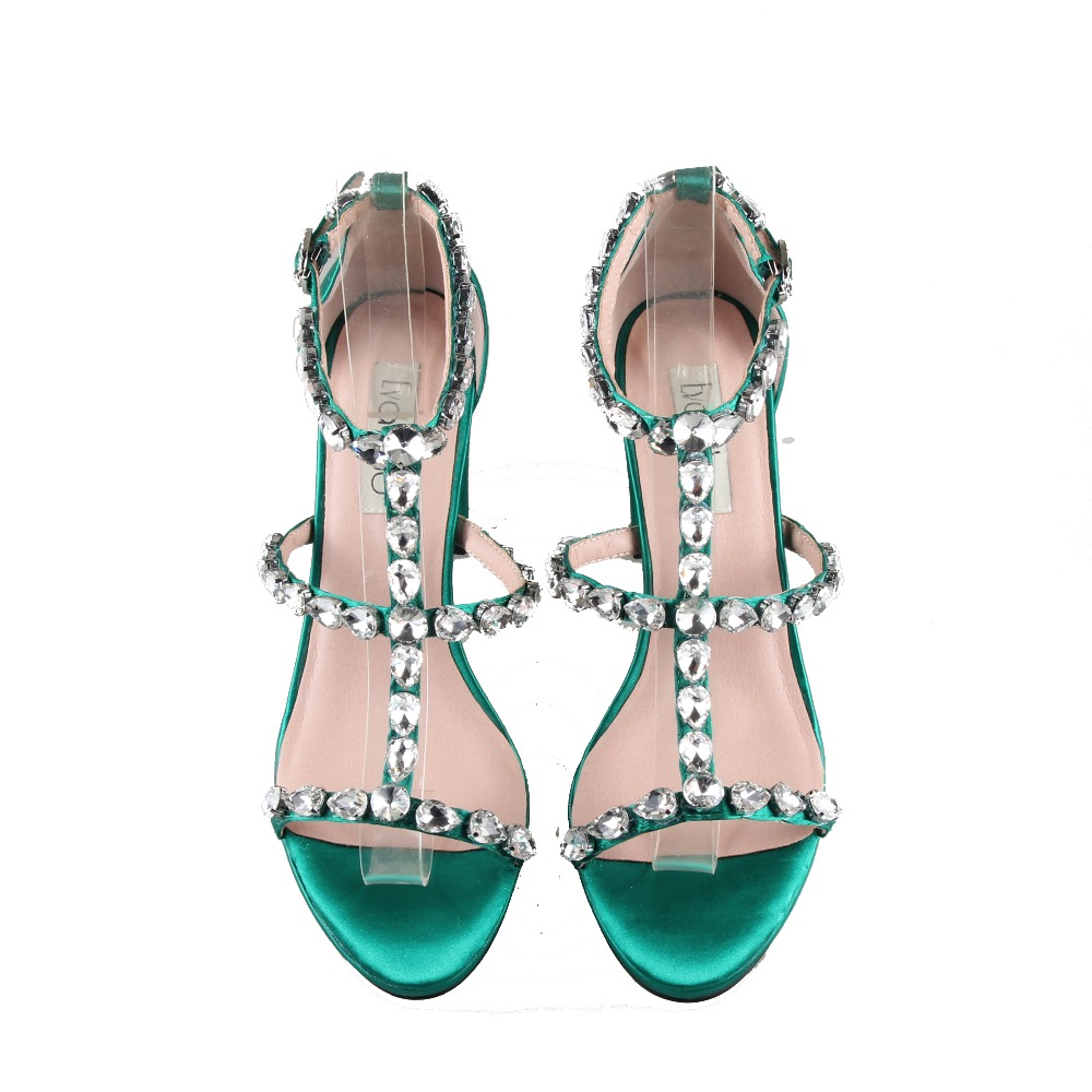 CHS969 مخصص اليدوية الزمرد الأخضر كريستال الراين أحذية Strappy و اللباس صندل كتلة كعب عالية الكعب النساء أحذية الزفاف-في كعب عالي من أحذية على  مجموعة 2
