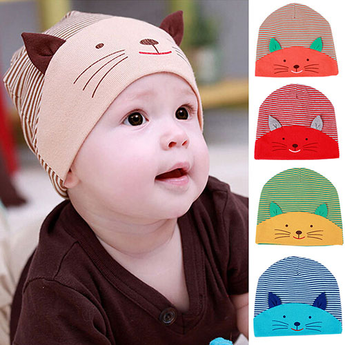 2015 New Winter Cute 3D Cat Striped Baby Infant Kid Boy Girl Soft Warm Cap Cotton Beanie baby hat 76UH