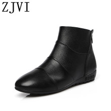 ZJVI woman 2019 women wedges low heels ankle boots genuine leather winter autumn ladies mother girls causal shoes black heel