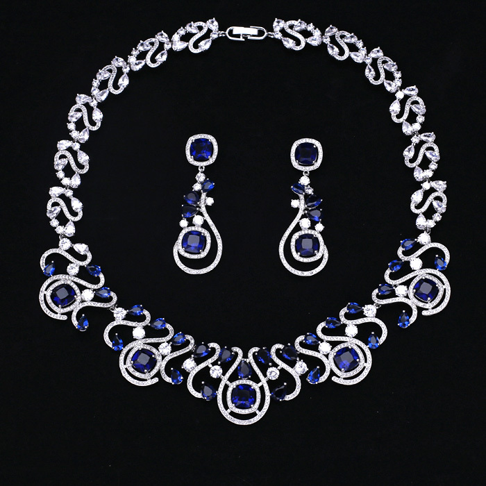 Luxury white gold-color Jewelry Sets Hollow Out Tear Shape Micro Inlay Small Stone Cubic Zirconia Crystal