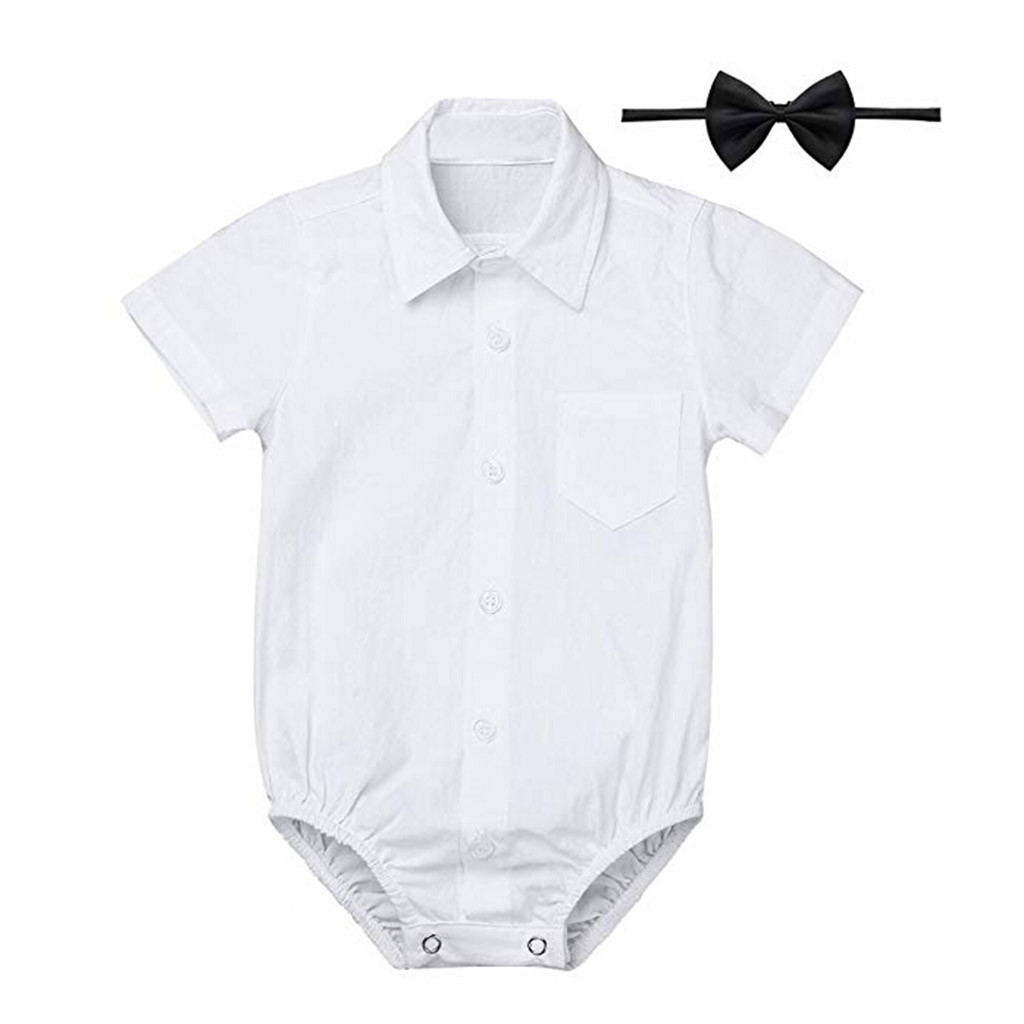 Summer New Fashion Newborn Baby Boys' Formal Shirts Gentleman Romper Bodysuit Wedding Party Outfits Wholesale Free Ship Z5