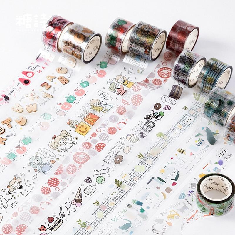 Happy Serise Journal Deco Transparent Washi Tape Masking Tape Japanese Stationery Stickers Scrapbooking School Supplie