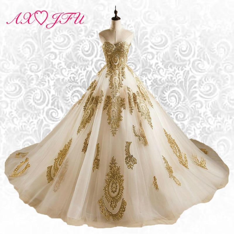 AXJFU Princess Golden lace wedding dress vintage kalkun bunga wedding dress strapless luxury illusion wedding dress J350