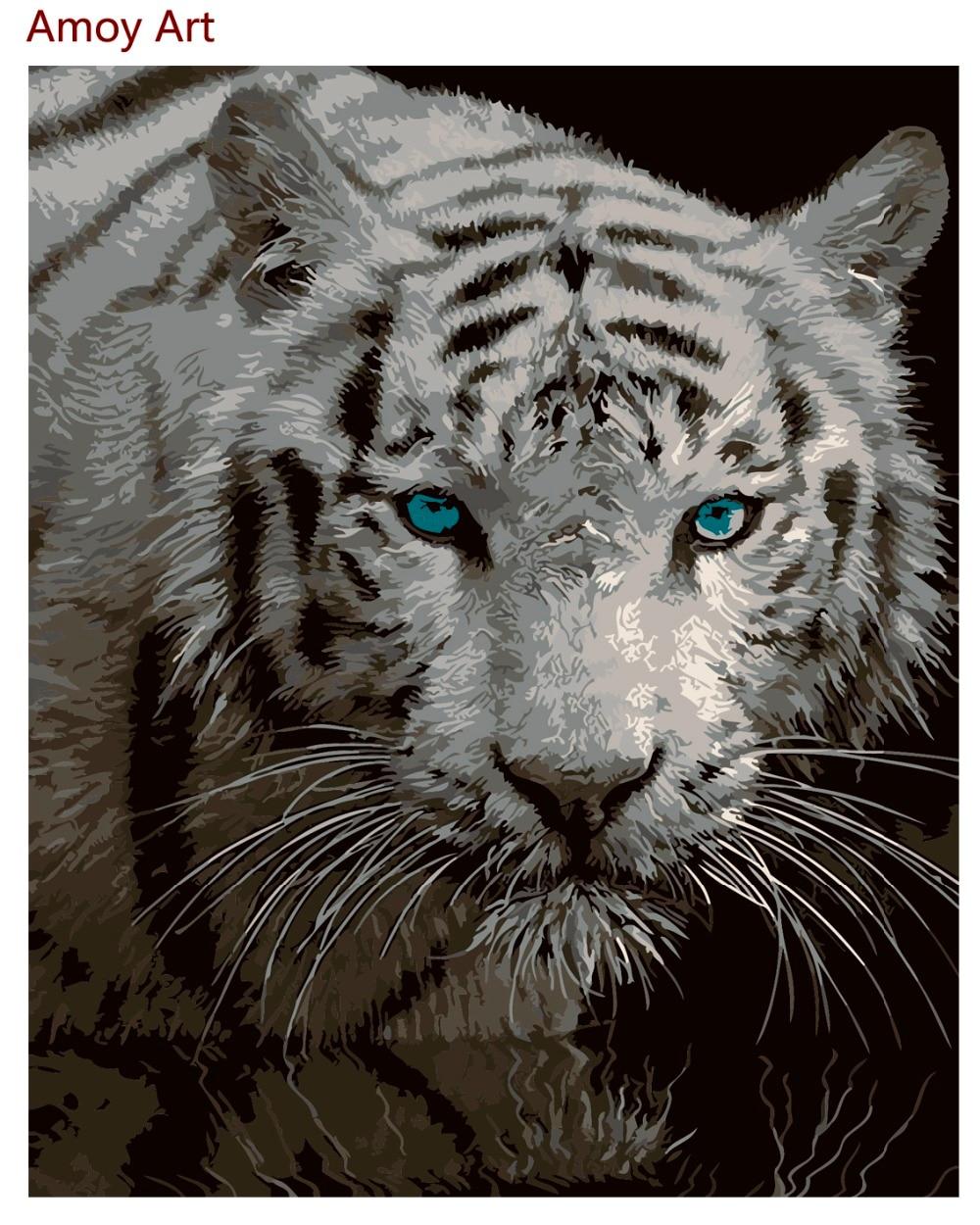 US $7 99 OFF Cat Minyak Diy Lukisan By Numbers Frameless Abstrak Mewarnai By Nomor Hewan Harimau Dekorasi Hitam Putih 40 50 Cm Diy