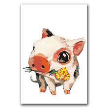 Colorings by numbers with kits animals Cute pink pig pictures paintings  in colors diy framed for hoom wall decoration
