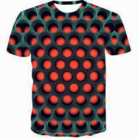 Coloré 2019 impression T-shirt pour hommes T-shirt drôle illusion graphique noir et blanc o-cou pull femmes 3D T-shirt