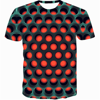 Colorful 2019 printing men's T-shirt funny T-shirt illusion black and white graphics O-neck pullover women's 3D T-shirt