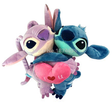 Lilo and Stitch Plush Toy Stitch & Angel Hug With Love Heart Peluche Stuffed Animals 20cm Cute Kids Baby Toys For Children Gifts