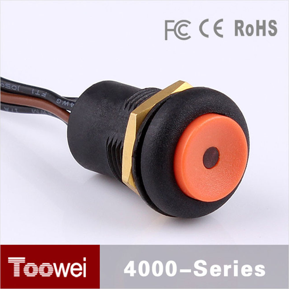 16mm momentary illuminated waterproof round red push button switch 10pcs/lot IP67 led ligh round push button switch with wire