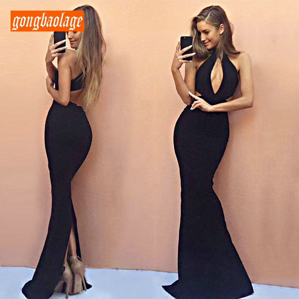 Formal Black   Evening     Dresses   Women Long 2019 Sexy Party   Dress   Club Halter Neck Mermaid vintage Lady   Evening   Gown Fast shipping